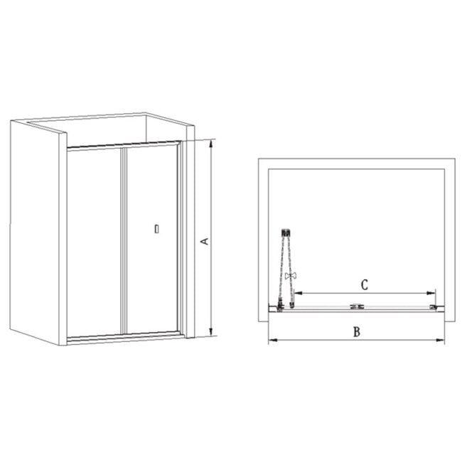 o Cristal 6 mm con perfiles entre puertas