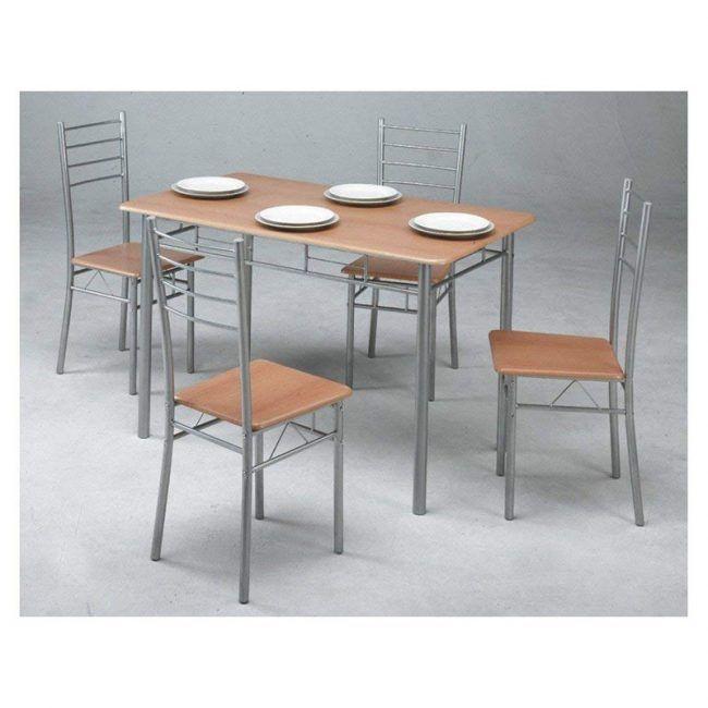 Conjunto de mesa de cocina + 4 sillas IBERODEPOT