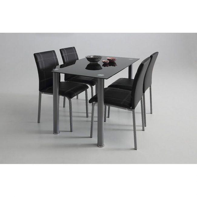 Conjunto mesa de cocina cristal y 4 sillas IBERODEPOT