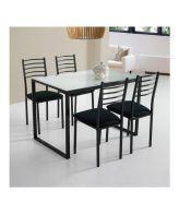 Conjunto mesa de cocina cristal y 4 sillas Noemí IBERODEPOT