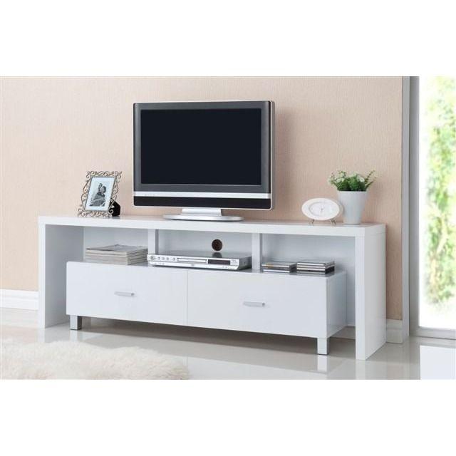 Mesa de televisión 2 cajones blanco IBERODEPOT
