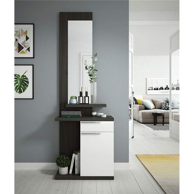 Mueble de recibidor con espejo Gris IBERODEPOT