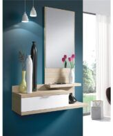 Mueble de recibidor con espejo Natural IBERODEPOT