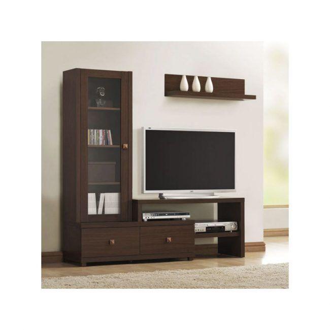 Mueble de televisión vitrina con 2 cajones IBERODEPOT