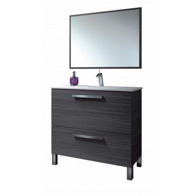 Mueble lavabo con espejo Gris ceniza IBERODEPOT