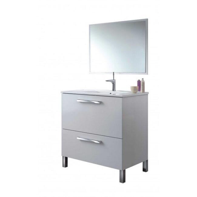 Mueble lavabo con espejo Blanco IBERODEPOT
