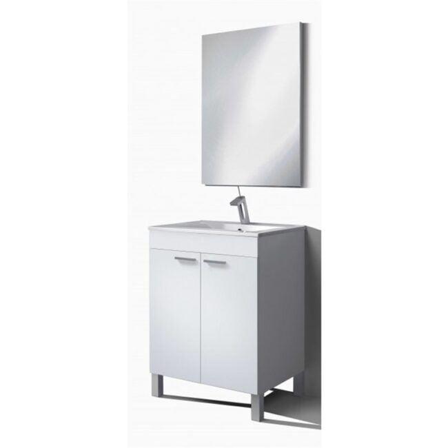 Mueble lavabo con puertas y espejo Blanco 60 IBERODEPOT