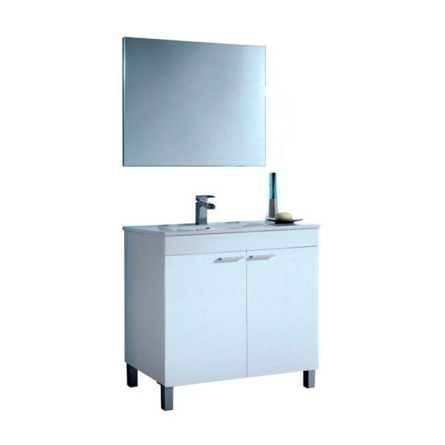 Mueble lavabo con puertas y espejo Blanco 80 IBERODEPOT
