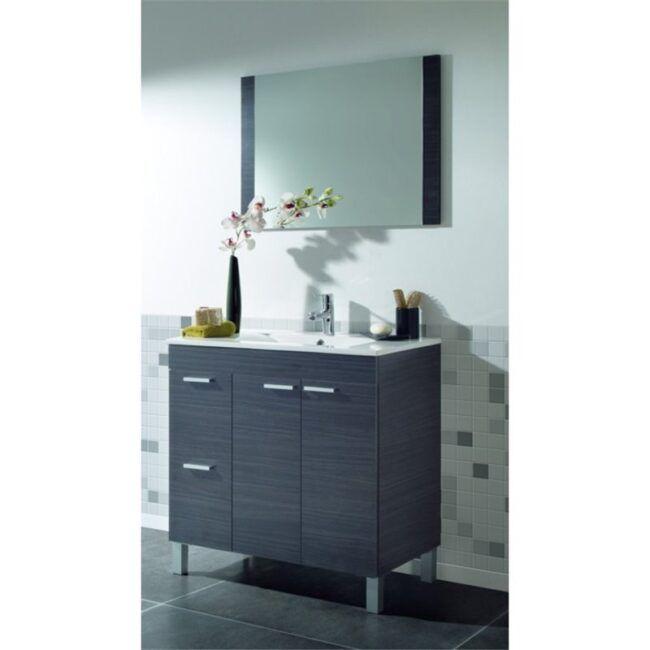 Mueble lavabo con puertas y espejo Gris IBERODEPOT