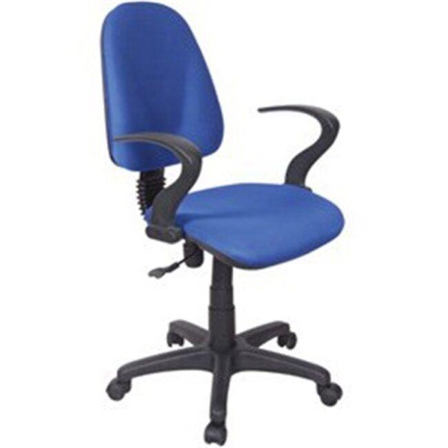 Silla de escritorio reposabrazos abierto azul IBERODEPOT