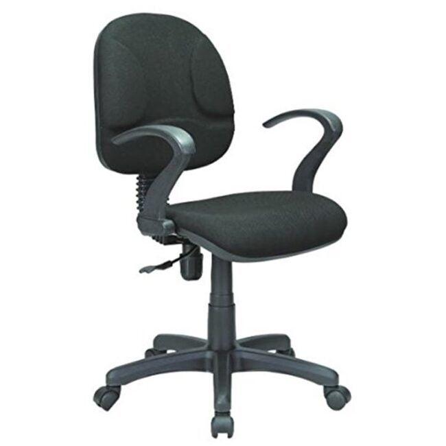 Silla de escritorio reposabrazos abierto negra IBERODEPOT