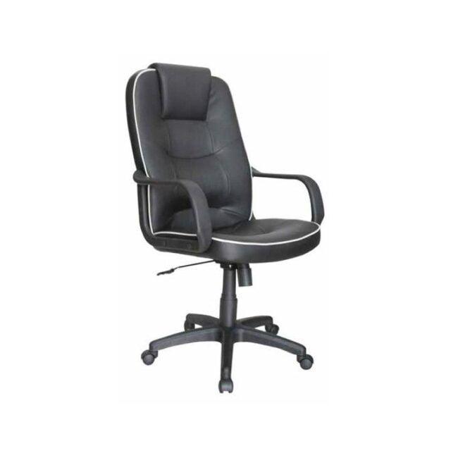 Silla de escritorio reposabrazos y cabecero negra IBERODEPOT