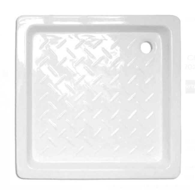 Plato de ducha Cerámico cuadrado con relieve 70x70 TEGLER
